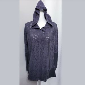 Free People Doily Hooded Gray Zip Up Cardigan size